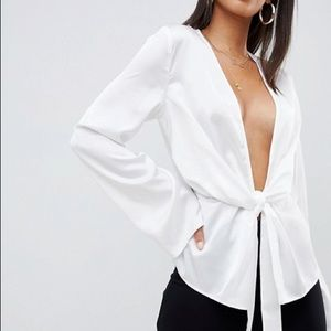 White Satin Plunge Miss Guided Blouse